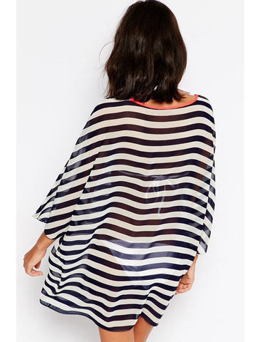 Kimono Sleeve Chiffon Striped Beachwear - VS FASHIONS