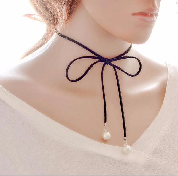 New Leather Bow Knot Choker Necklace