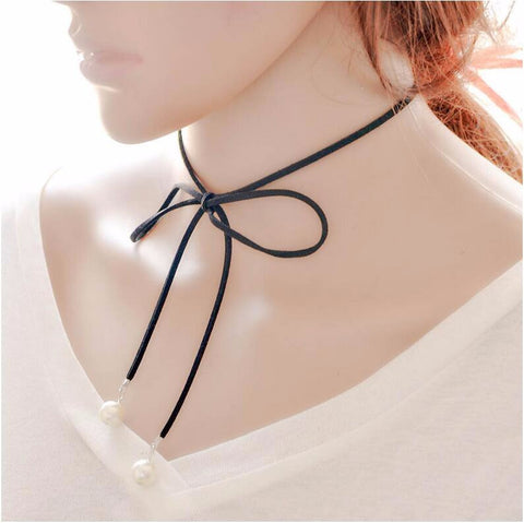 New Leather Bow Knot Choker Necklace - VS FASHIONS