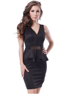 Bar Trim Peplum Dress