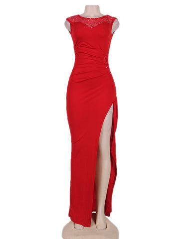 Elegant Red Side Lace Detail Ruched Maxi Dress - VS FASHIONS