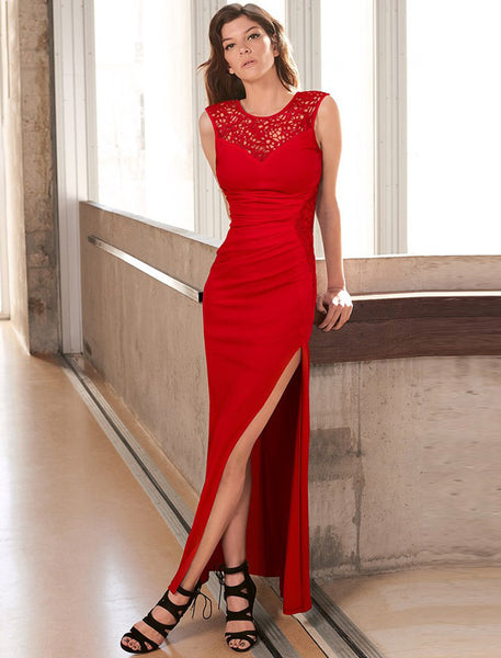 Elegant Red Side Lace Detail Ruched Maxi Dress