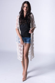 Half Sleeve Lace Crochet Long Beach Cardigan Kimono