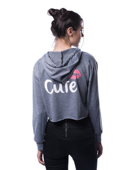 Cute Print Raw Hem Marled Hooded Sweatshirt