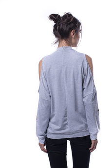Heather Grey Open Shoulder Sweatshirt With Embroidered Patch