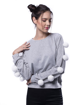 Pom Pom Sleeve Heather Knit Sweatshirt