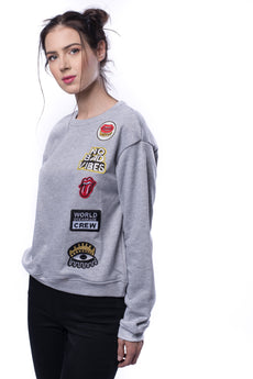 Embroidered Patch Detail Heather Knit Sweatshirt