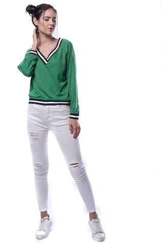 Contrast Striped Trim V-neckline Sweatshirt