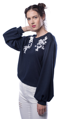 Embroidery Exaggerate Sleeve Pullover - VS FASHIONS