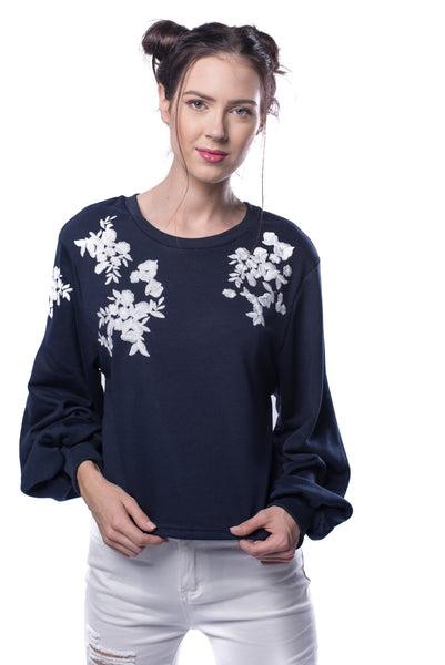 Embroidery Exaggerate Sleeve Pullover