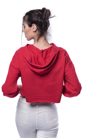Drop Shoulder Raw Hem Crop Hoodie - VS FASHIONS