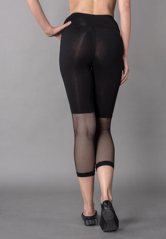 Black Wide Waistband Mesh Panel Crop Leggings Sportswear
