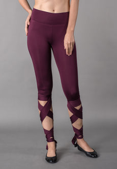 Purple Crisscross Wrap Leggings Sportswear