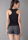 Dark Grey Contrast Binding Dolphin Shorts Sportswear - VS FASHIONS