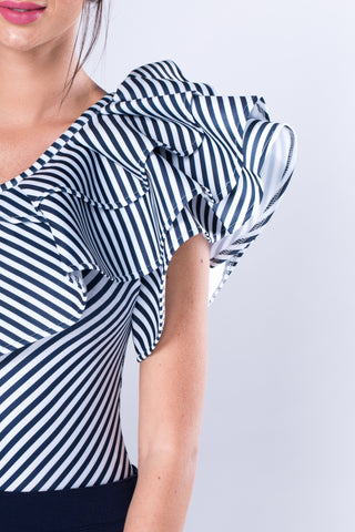 Oblique Shoulder Striped With Exaggerated Frill Bodysuit