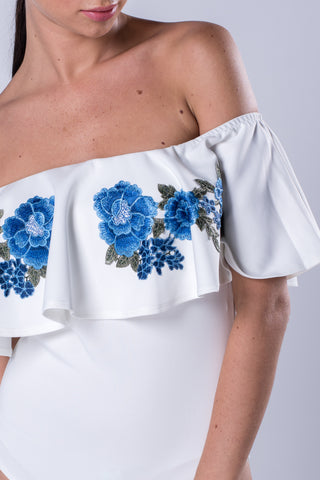 Embroidered Flower Applique Frill Bardot Bodysuit