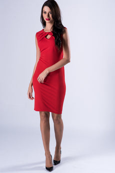 Ruffled Bodycon Red Midi Dress