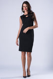 Ruffled Bodycon Black Midi Dress