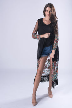 Multicolor Transparent Embroidered Fringe Long Kimono