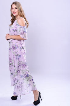 CURVE NECK TRIM COLD SHOULDER MAXI DRESS - PRINTED