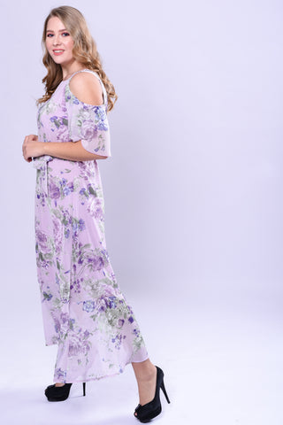 CURVE NECK TRIM COLD SHOULDER MAXI DRESS - PRINTED - VS FASHIONS