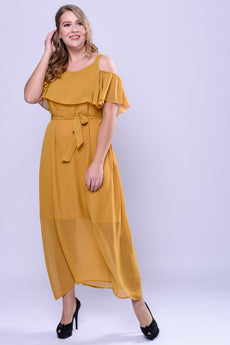 CURVE Neck Trim Cold Shoulder Maxi Dress - Mastard