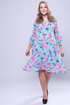 CURVE Flutter Sleeve Dress -Rose Flower