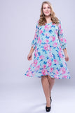 CURVE Flutter Sleeve Dress -Rose Flower - VS FASHIONS