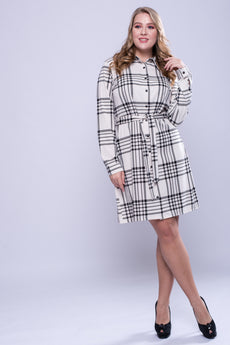 CURVE White Tartan Belted Shirt Dress