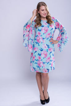 CURVE Flutter Sleeve Dress - Floral