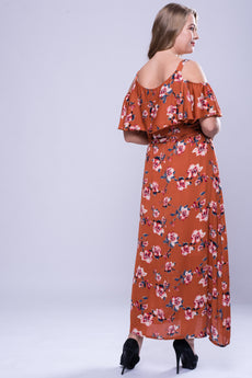 CURVE Neck Trim Cold Shoulder Maxi Dress - Floral