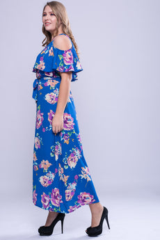 CURVE Neck Trim Cold Shoulder Maxi Dress - Blue Floral
