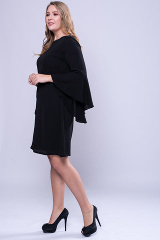 CURVE Flutter Sleeve Dress - Black - VS FASHIONS