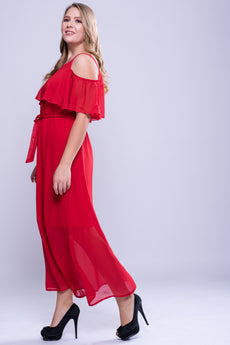 CURVE Neck Trim Cold Shoulder Maxi Dress - Red