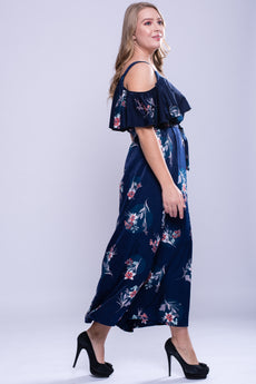 CURVE Ruffle Cold Shoulder Maxi Dress - Floral