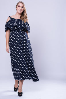 CURVE Neck Trim Cold Shoulder Maxi Dress - Polka