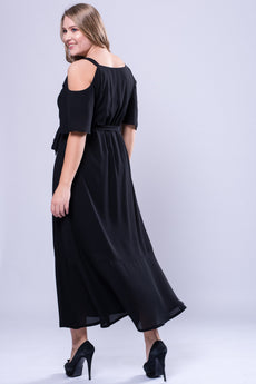 CURVE NECK TRIM COLD SHOULDER MAXI DRESS - BLACK