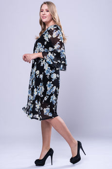 CURVE Flutter Sleeve Dress -Navy Flower