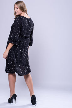 CURVE Flutter Sleeve Dress - Black Polka