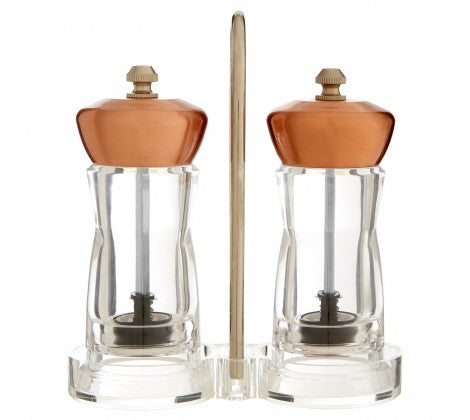 Salt And Pepper Copper Mill Set With Stand - Adapt Avenue