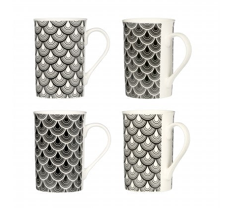 Black Deco Luxe Mugs - Set of 4 - Adapt Avenue
