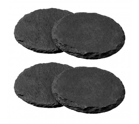 Set of 4 Grey Round Slate Coasters - Adapt Avenue