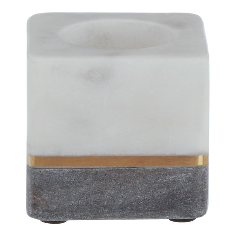 Kira White/Grey Marble Tea Light Holder