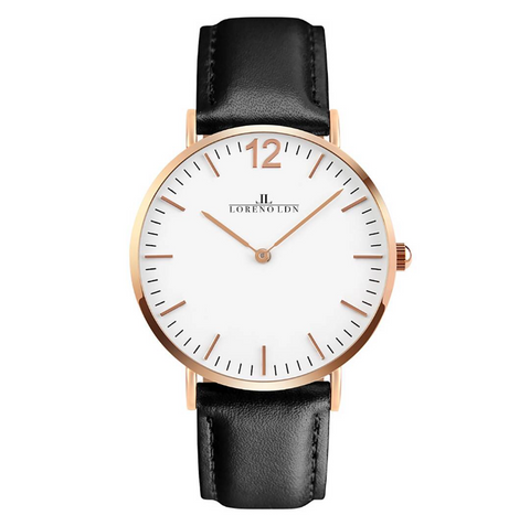 Loreno Vintage, Unisex Leather Strap Watch, Gold/White - Adapt Avenue