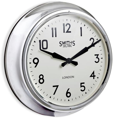 Smiths Extra Large Wall Clock In Chrome, 60cm - Adapt Avenue