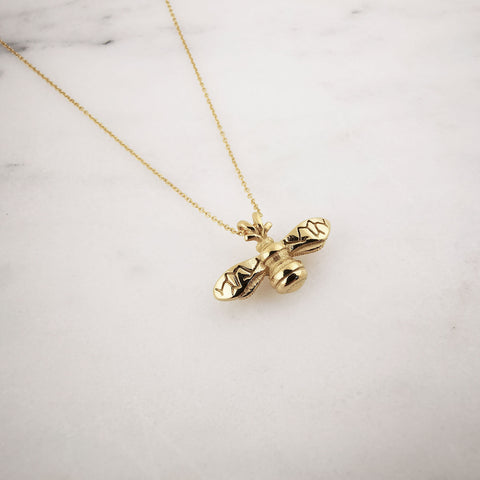 Gold 18k Bumble Bee Necklace - Adapt Avenue