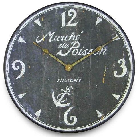 French Fish Market Wall Clock, 36cm - Adapt Avenue