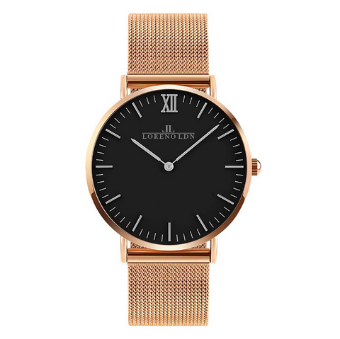 Loreno Unisex Rose Gold Mesh Strap Watch - Adapt Avenue