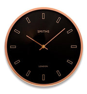 Modern Rose Gold Case, Smiths Black Dial Wall Clock, 30cm - Adapt Avenue