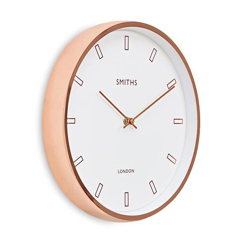 Modern Rose Gold Case, Smiths White Dial Wall Clock, 30cm - Adapt Avenue